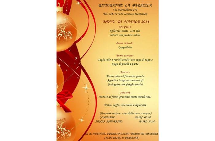 Menù di Natale La Baracca