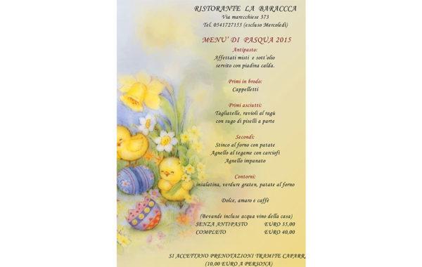 Menù Pasqua La Baracca